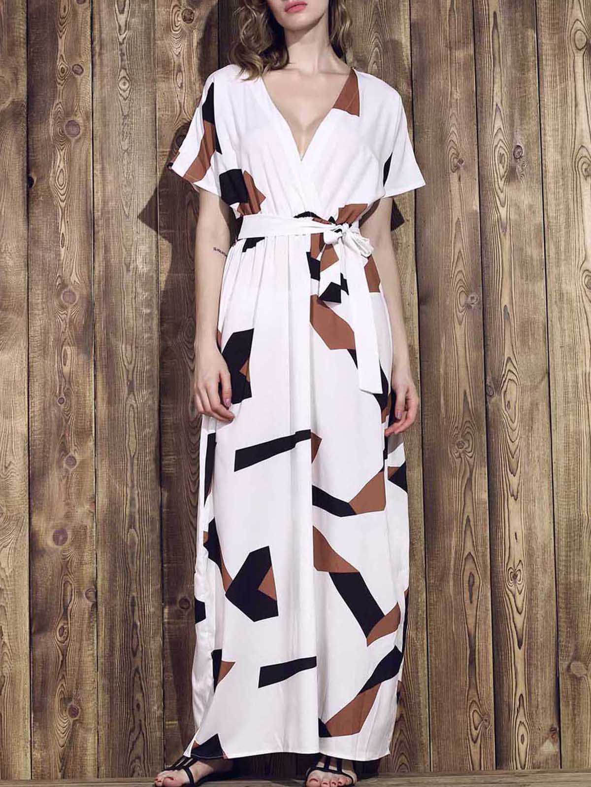 Fashionable Short Sleeve Plunging Neck Hit Color Printed Women's Dress - WHITE M