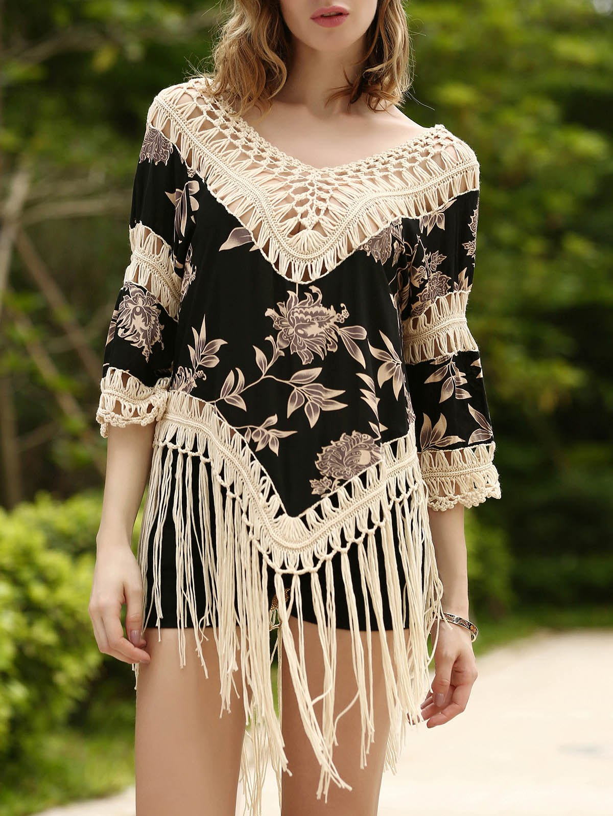Trendy 3/4 Sleeve V-Neck Fringed Asymmetrical Floral Print Women's Cover-Up - APRICOT ONE SIZE(FIT SIZE XS TO M)