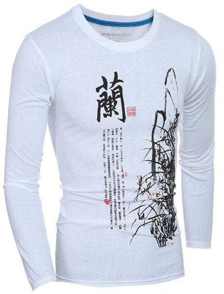 Casual Long Sleeves Calligraphy Printed T-Shirt For Men - WHITE XL