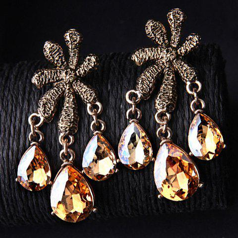 Pair of Vintage Faux Crystals Flower Water Drop Earrings For Women