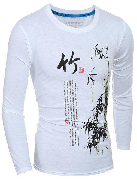 Casual Long Sleeves Bamboo Printed T-Shirt For Men - WHITE L