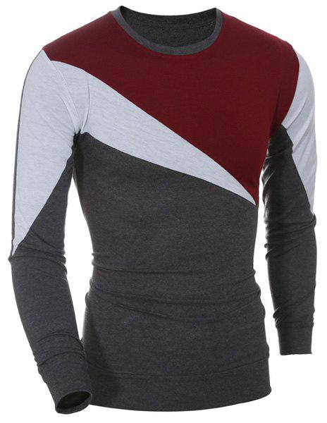 Casual Long Sleeves Color Block T-Shirt For Men - WINE RED M