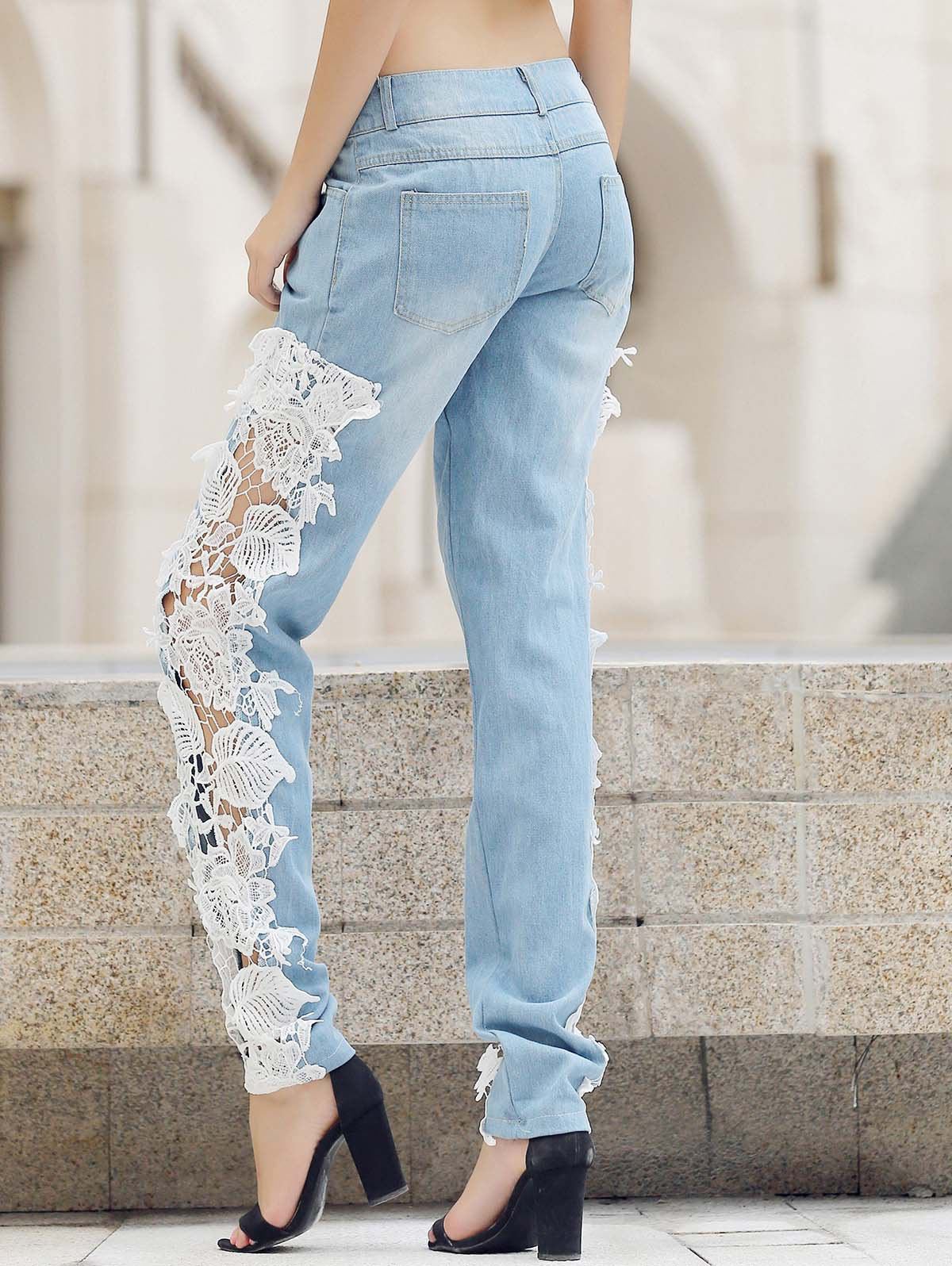 Trendy Mid-Waisted Lace Spliced Hollow Out Pocket Design Women's Jeans - WHITE S