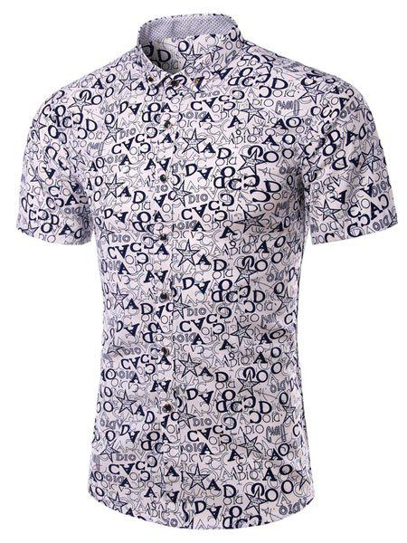 Turn-Down Collar Plus Size Stars and Letters Print Short Sleeve Men's Shirt - CADETBLUE L