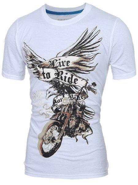 Vogue Round Neck 3D Eagle Print Short Sleeve Men's T-Shirt - WHITE M