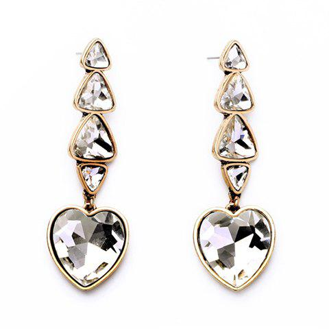 Pair of Faux Crystals Heart Triangle Earrings - COLORMIX