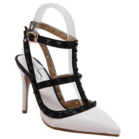 Stylish Rivets and T-Strap Design Women's Sandals