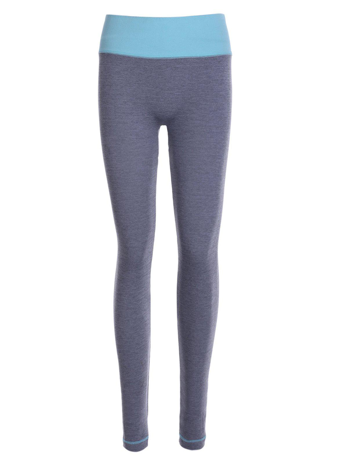 Trendy Skinny Hit Color Sport Leggings For Women - LIGHT GRAY ONE SIZE(FIT SIZE XS TO M)