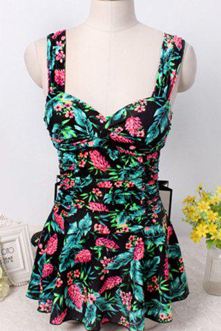 Sweet Style Sweetheart Neck Floral Print One-Piece Women's Swimwear - BLACK M