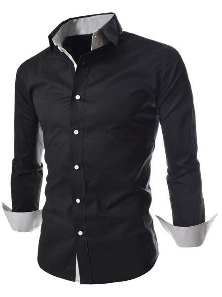 Double-Layered Design Turn-Down Collar Long Sleeve Slimming Men's Shirt - BLACK 2XL