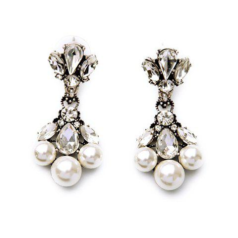 Pair of Faux Crystals Pearls Water Drop Earrings - COLORMIX