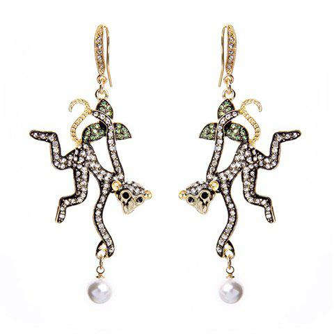 Pair of Vintage Faux Pearls Rhinestone Decorated Monkey Shape Earrings For Women