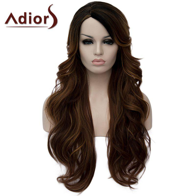 Vogue Long Black Brown Mixed Capless Shaggy Side Parting Wavy Synthetic Wig For Women - BLACK/BROWN