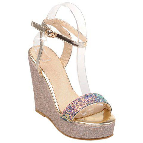Trendy Sequined Cloth and Ankle Strap Design Women's Sandals - PURPLE 39