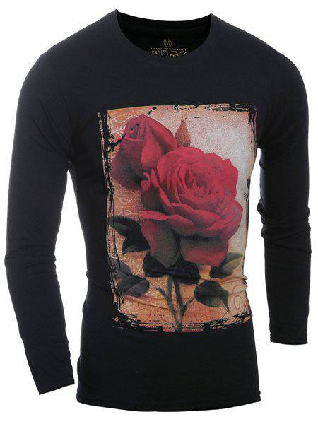 Stylish Round Neck 3D Rose Print Long Sleeves Men's T-Shirt - 2XL BLACK