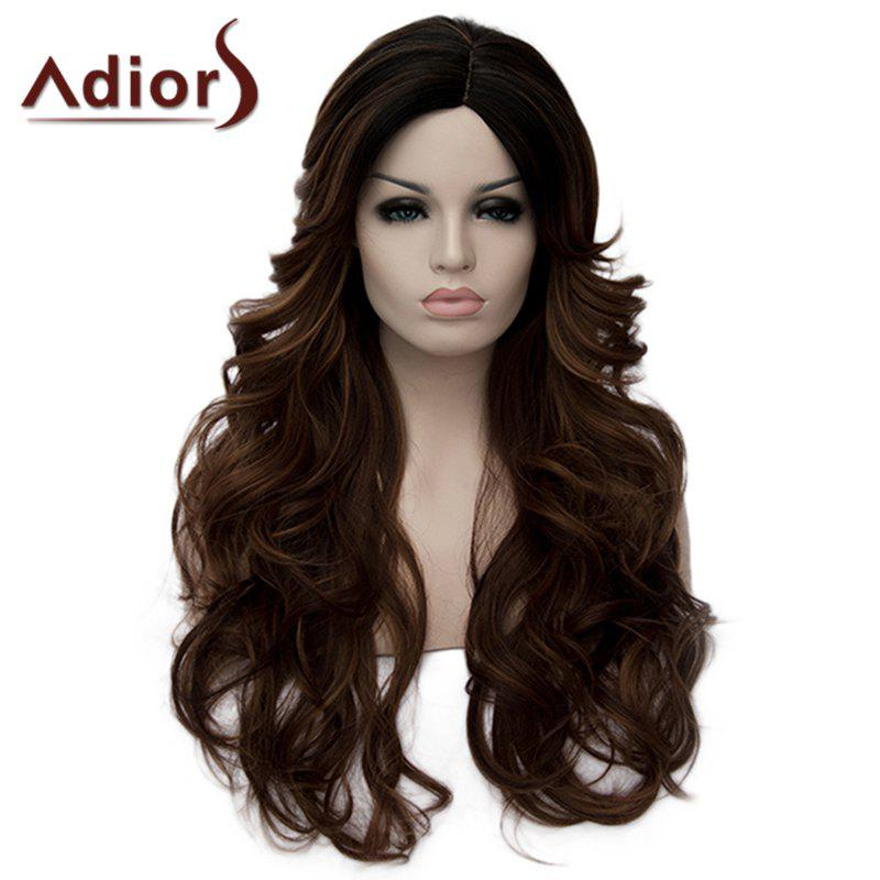 Fashion Long Black Brown Ombre Capless Fluffy Wavy Side Parting Women's Synthetic Wig - BLACK/BROWN