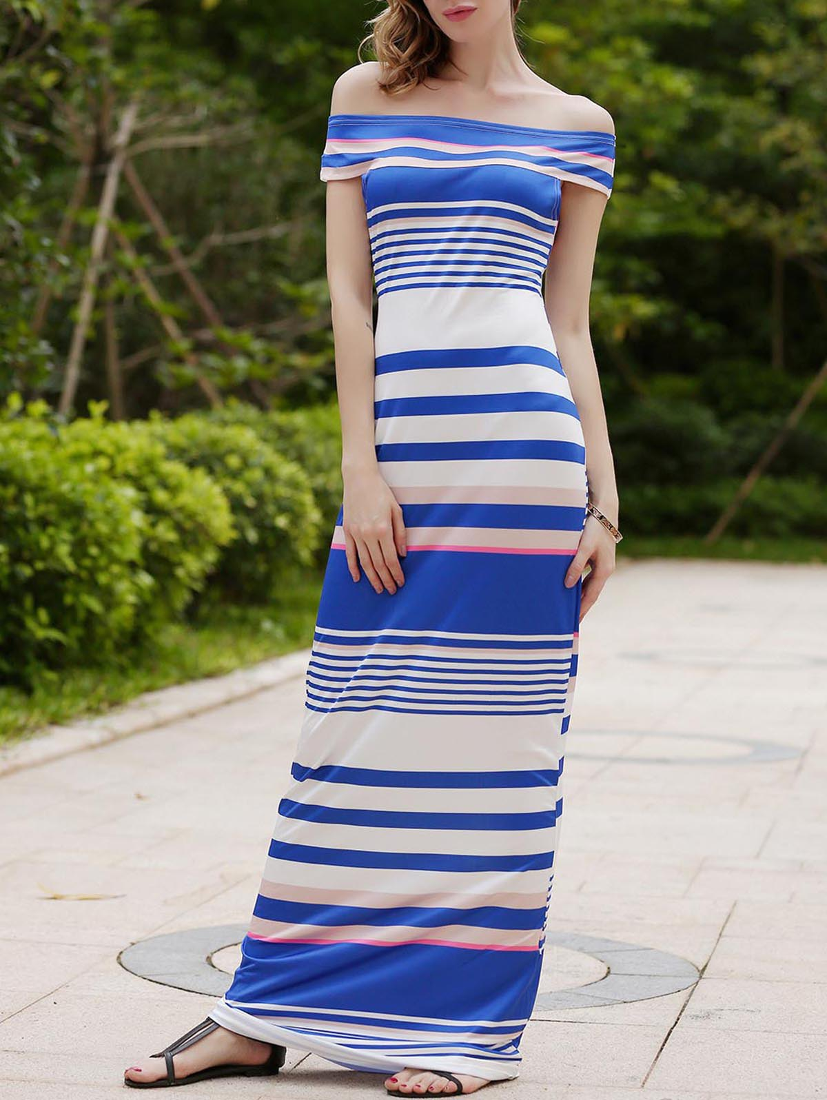 Fashionable Off The Shoulder Skinny Striped Women's Maxi Dress - SAPPHIRE BLUE L