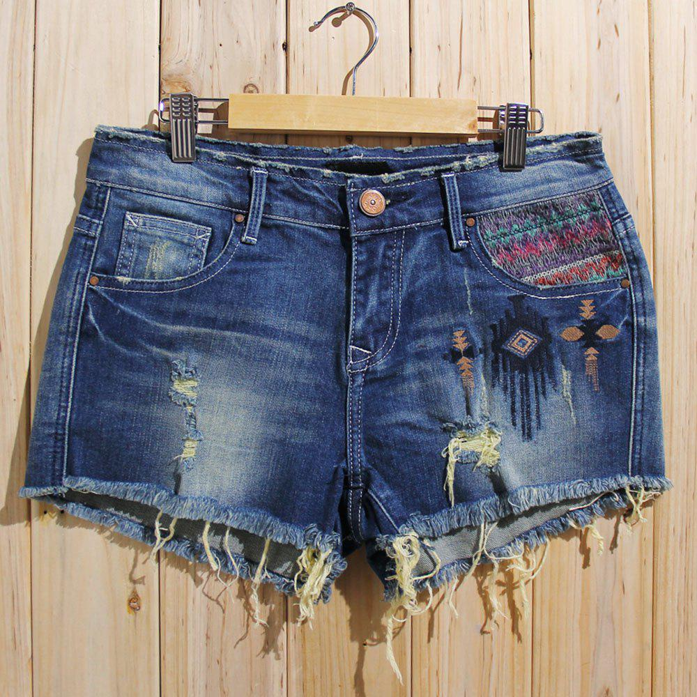 Trendy Bleach Wash Ripped Shorts For Women - DENIM BLUE S