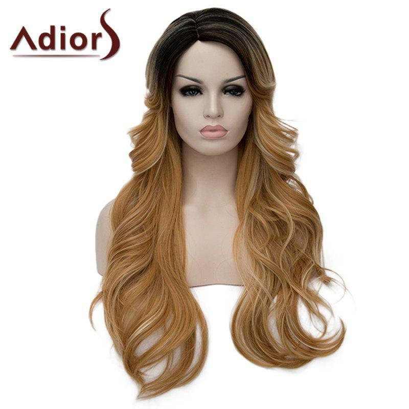 Charming Side Parting Synthetic Shaggy Long Wave Black Ombre Blonde Women's Capless Wig - BLACK/GOLDEN