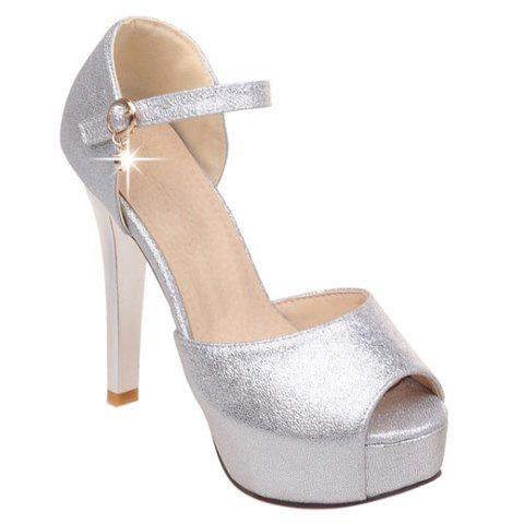 Trendy Solid Colour and Peep Toe Design Women's Sandals - SILVER 34