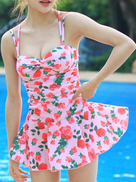 Sweet Style Strappy Floral Print Criss-Cross Two-Piece Women's Swimsuit - PINK M