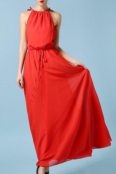 Stylish Women's Strappy Drawstring Red Maxi Dress - RED M