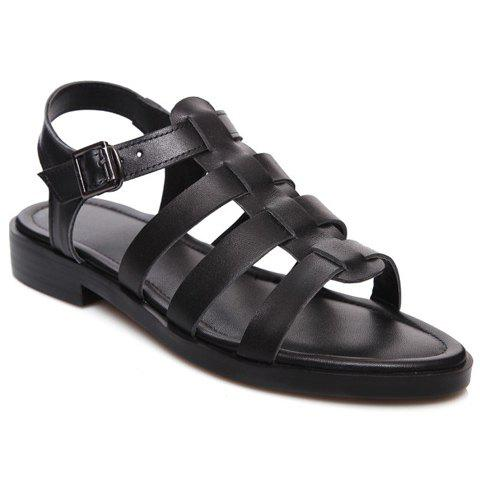 Concise T-Strap and Black Color Design Women's Sandals - BLACK 39