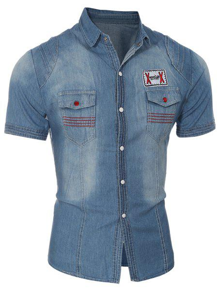 Turn-Down Collar Bleach Wash Design Chest Pocket Short Sleeve Denim Men's Shirt - LIGHT BLUE L