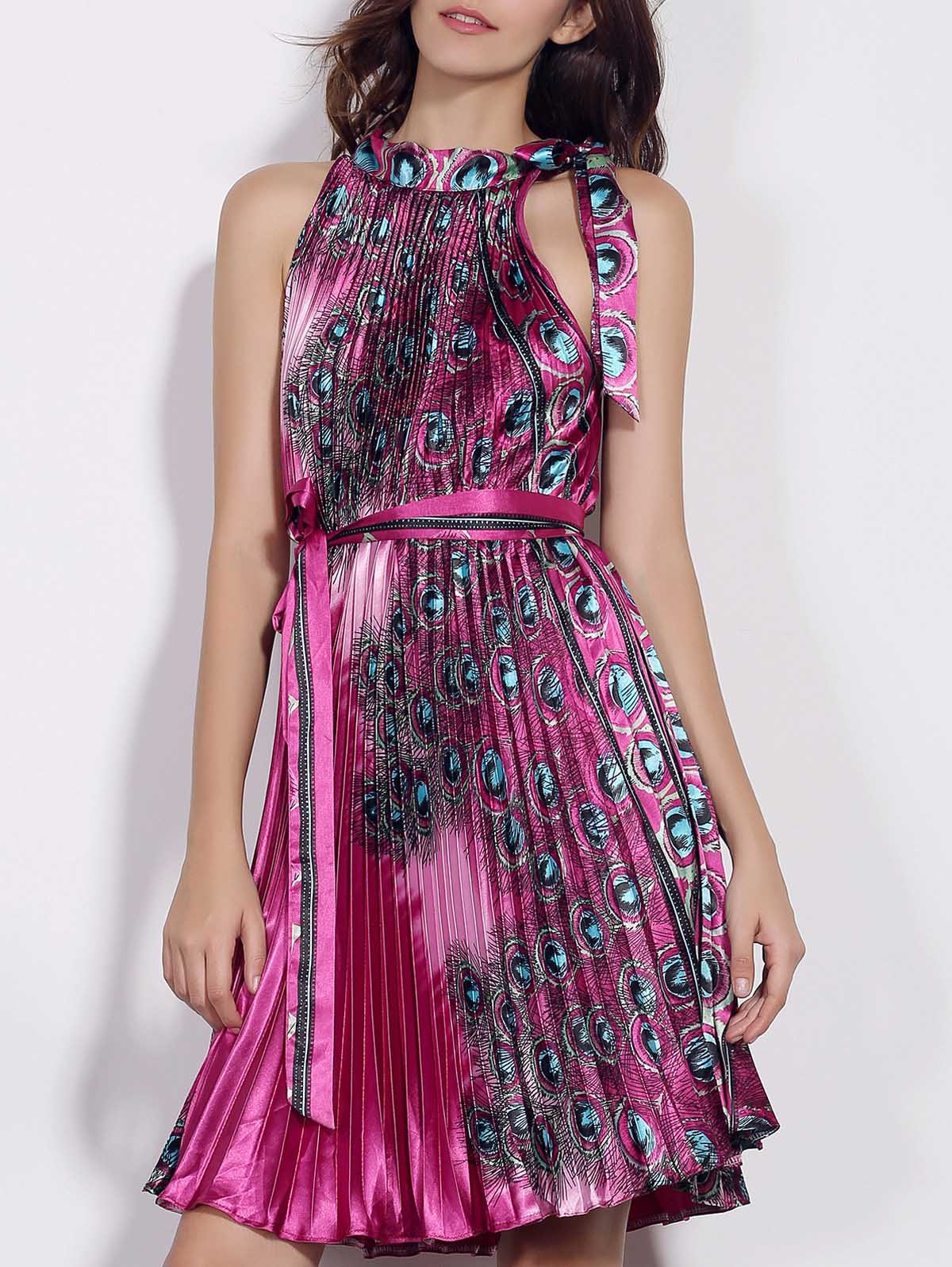 Fashionable Sleeveless Stand Collar Pleated Printed Women's Dress - PURPLE 2XL