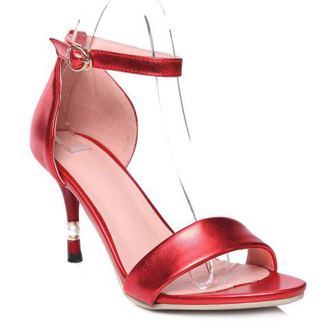 Trendy Faux Pearl and Ankle Strap Design Women's Sandals - RED 38