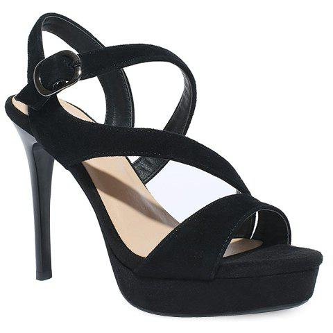 Stiletto Heel Suede Strappy Sandals - BLACK 35