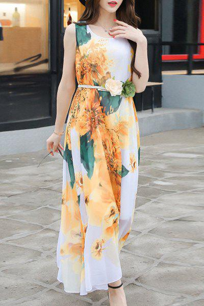 Casual Scoop Neck Sleeveless Tie Belt Floral Printed Women's Chiffon Dress - YELLOW L