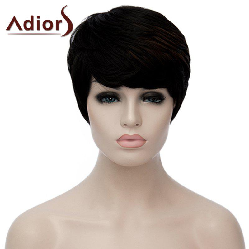 Fashion Short Straight Synthetic Attractive Red Highlight Side Bang Capless Wig For Women - RED/BLACK