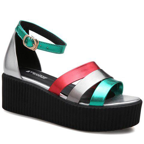 Fashion Platform and Color Block Design Women's Sandals - GREEN 38