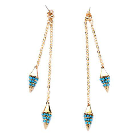 Pair of Vintage Beads Decorated Cone Shape Earrings For Women