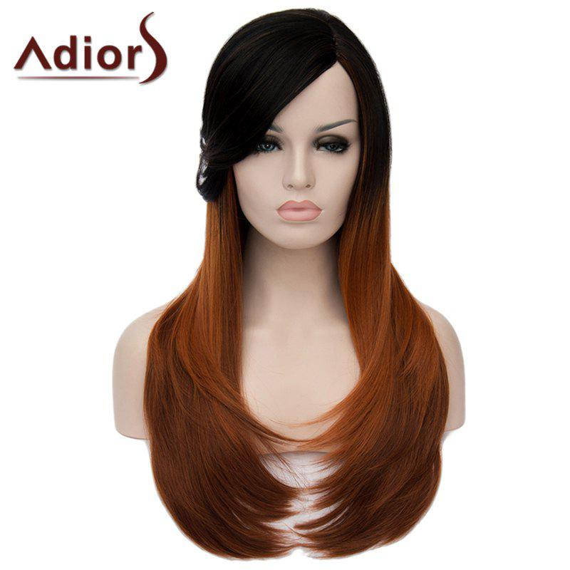 Vogue Side Bang Black Brown Ombre Capless Charming Long Natural Straight Synthetic Wig For Women - BLACK/BROWN