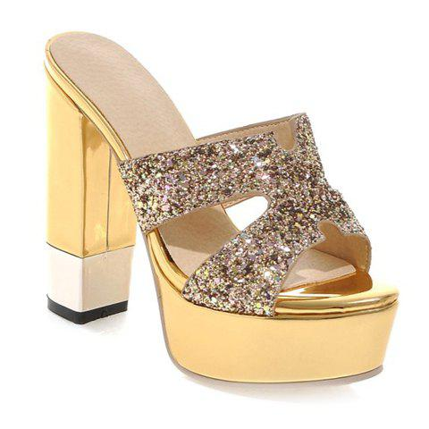 Stylish Sequined Cloth and Chunky Heel Design Women's Slippers - GOLDEN 38