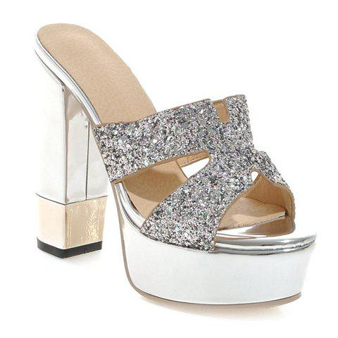 Stylish Sequined Cloth and Chunky Heel Design Women's Slippers - SILVER 36
