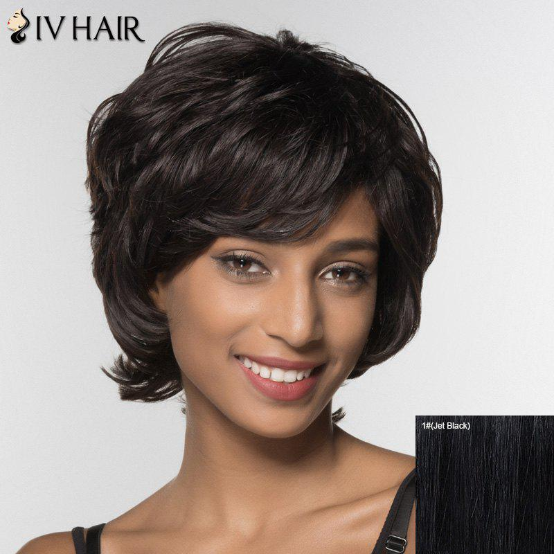 Stylish Curly Short Inclined Bang Siv Hair Human Hair Wig For Women -  JET BLACK