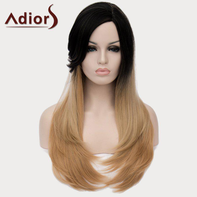 Vogue Side Bang Black Brown Ombre Capless Charming Long Natural Straight Women's Synthetic Wig - BLACK/GOLDEN