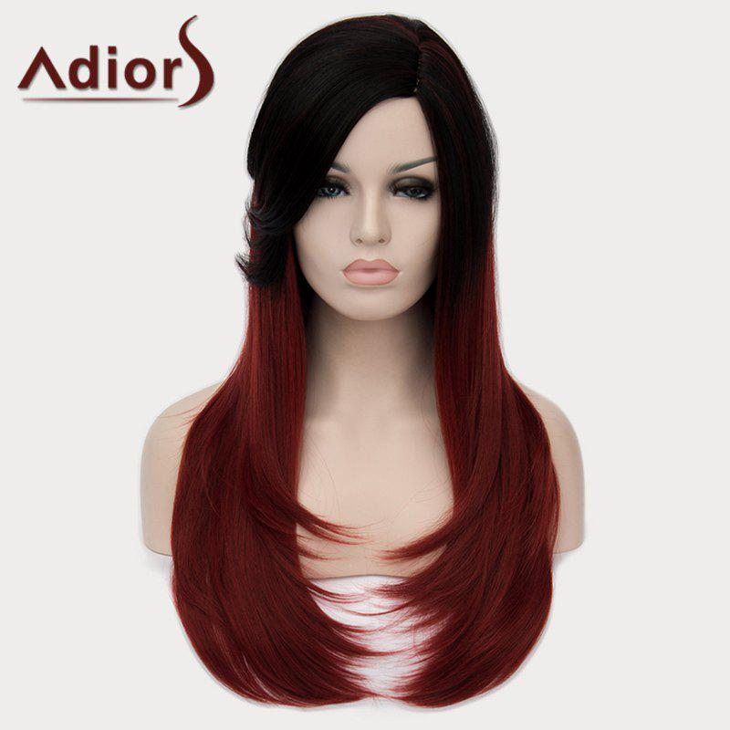 Fashion Side Bang Natural Straight Synthetic Elegant Long Black Ombre Wine Red Women's Wig