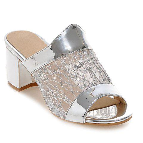 Fashionable Solid Colour and Mesh Design Women's Slippers - SILVER 38