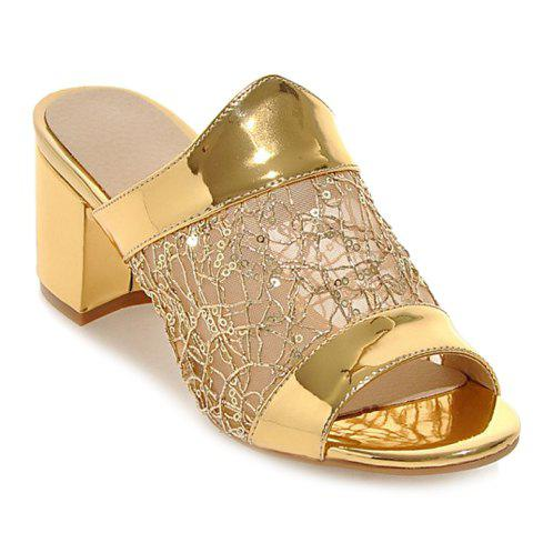 Fashionable Solid Colour and Mesh Design Women's Slippers - GOLDEN 37