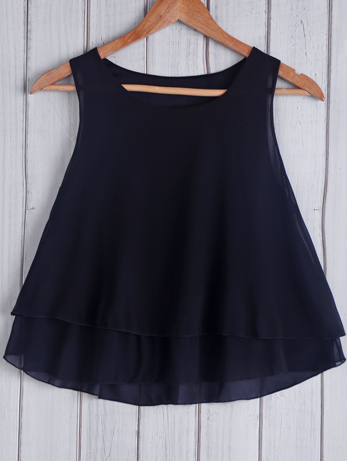 Fashionable Round Collar Loose-Fitting Solid Color Women's Tank Top - BLACK ONE SIZE(FIT SIZE XS TO M)