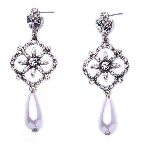 Pair of Vintage Faux Crystals Rhinestone Decorated Flower Water Drop Earrings For Women