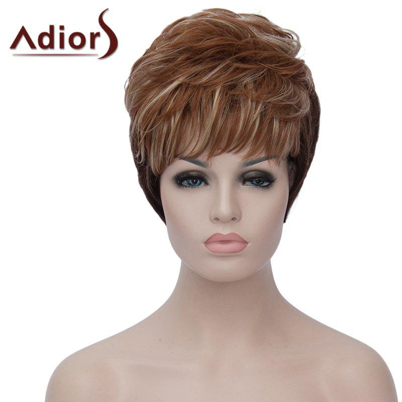 Spiffy Short Black Brown Mixed Capless Fluffy Natural Wavy Women's Synthetic Wig - BLACK/BROWN
