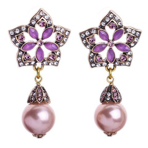 Pair of Vintage Faux Gem Pearls Decorated Pentagram Flower Earrings - COLORMIX