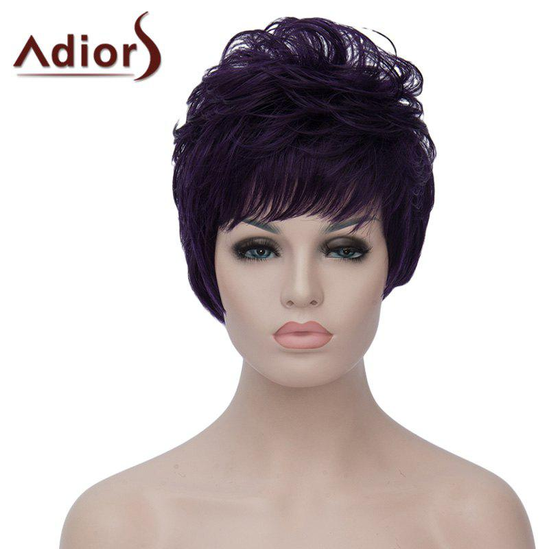 Vogue Short Purple Highlight Synthetic Towheaded Natural Wave Capless Wig For Women - BLACK/PURPLE