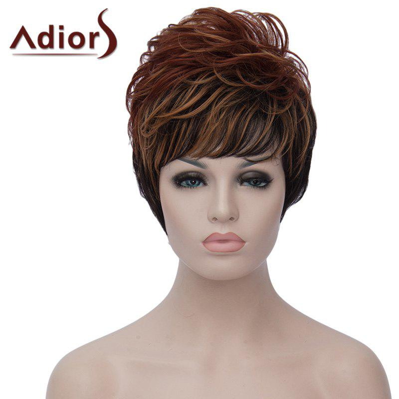 Fluffy Wave Synthetic Dynamic Side Bang Brown Black Mixed Capless Short Wig For Women