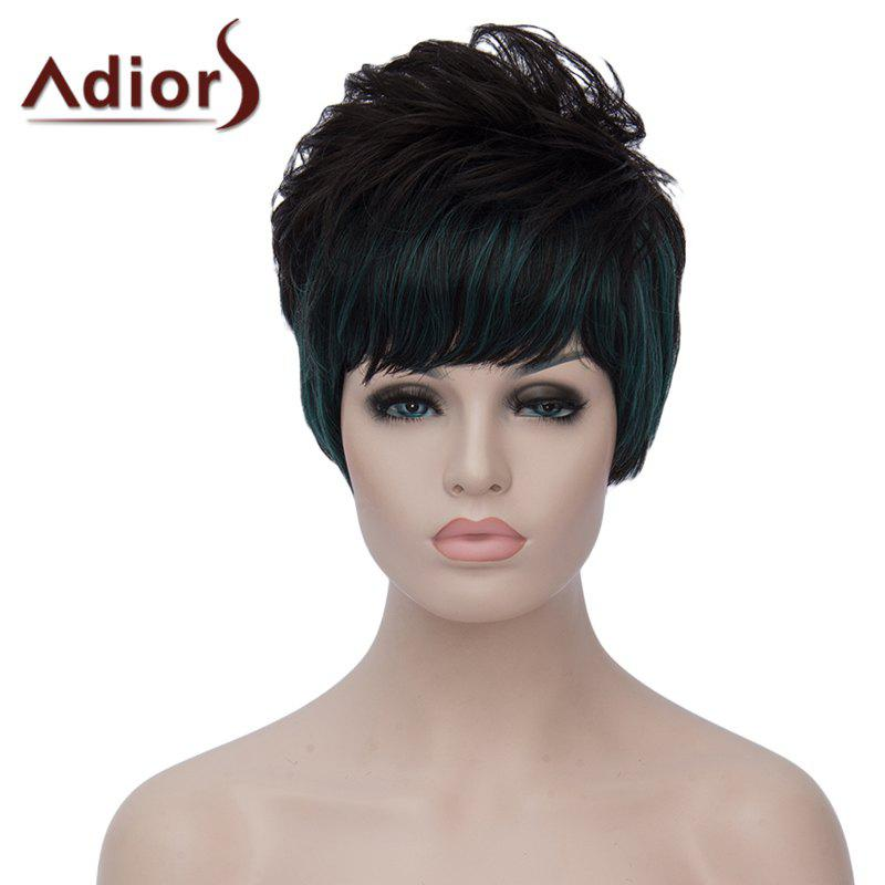 Bouffant Natural Wave Short Synthetic Stylish Green Highlight Side Bang Capless Wig For Women - BLACK/GREEN